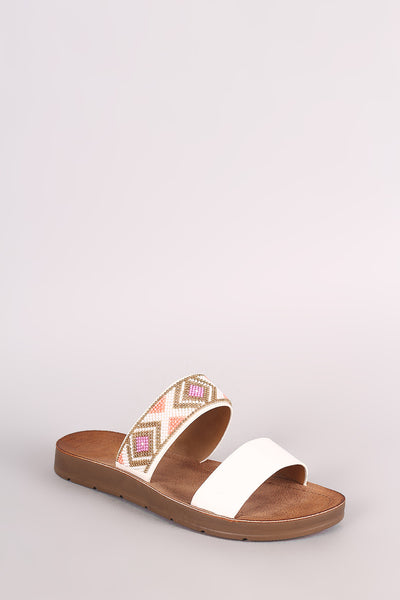 Bamboo Double Band Beadwork Slide Sandal