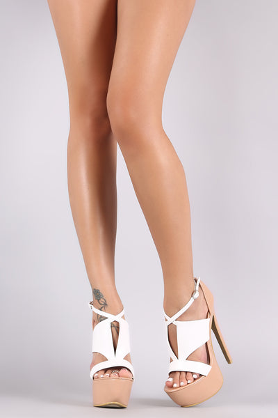 Two Tone Open Toe Caged Stiletto Platform Heel