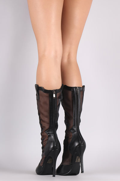 Mesh Western Stitch Pointy Toe Stiletto Mid Calf Boots