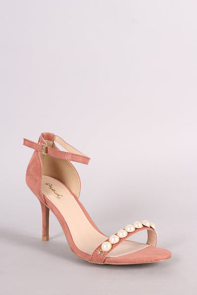Qupid Suede Faux Pearl Accent Ankle Strap Dress Heel