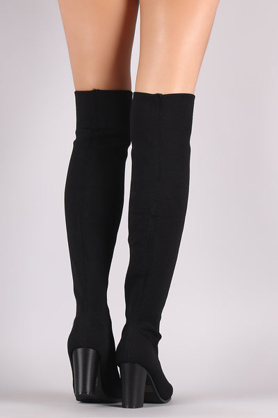 Over The Knee Boots For Women By Qupid | Shop Women's Fashion Lovely Stylish Stretchy Knit Peep Toe Chunky Heeled Over-The-Knee Boots