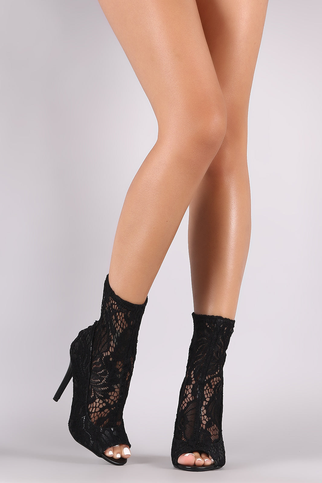 Qupid Floral Lace Peep Toe Stiletto Booties