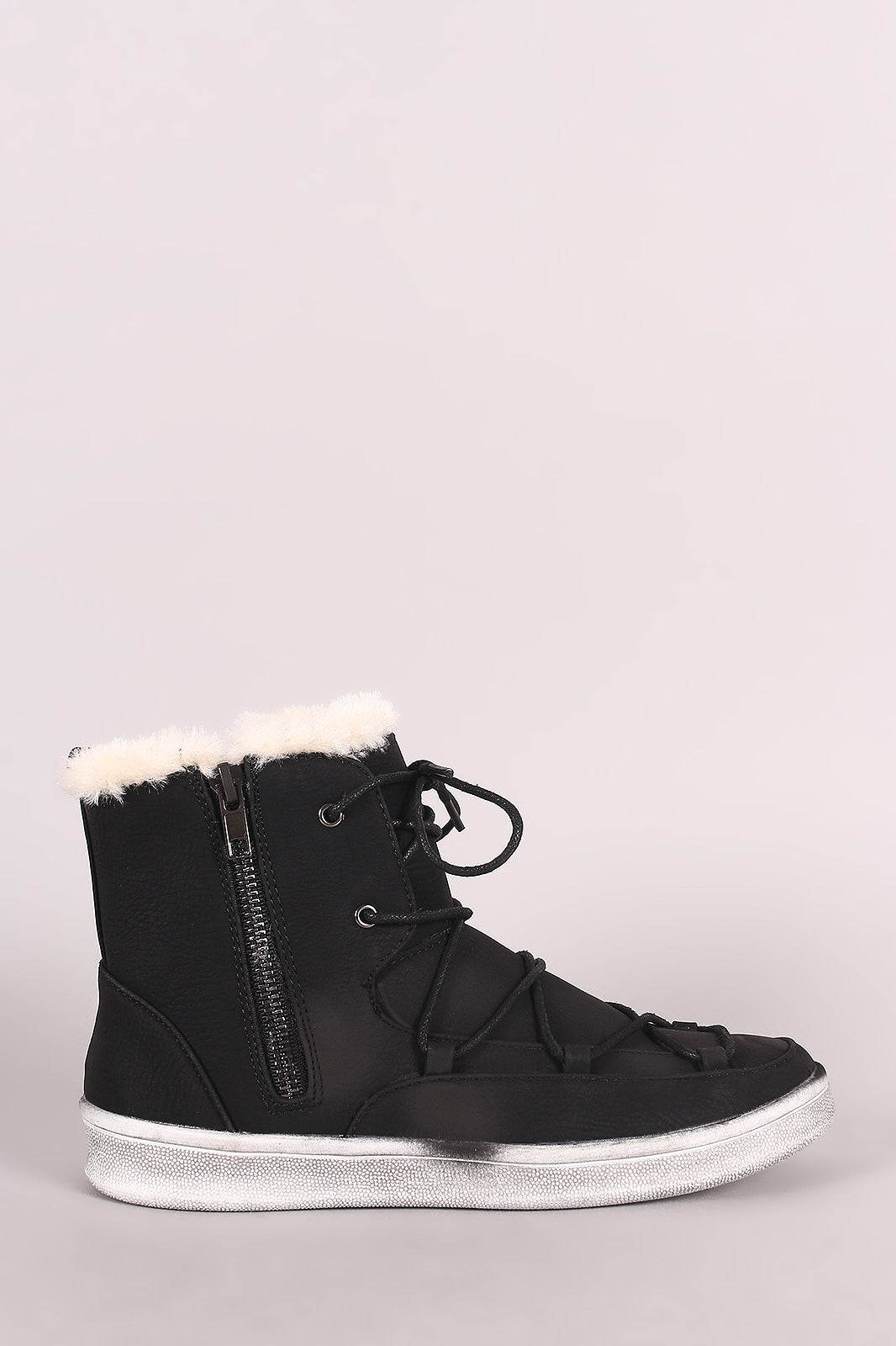 Double Side Zip High Top Lace-Up Sneaker