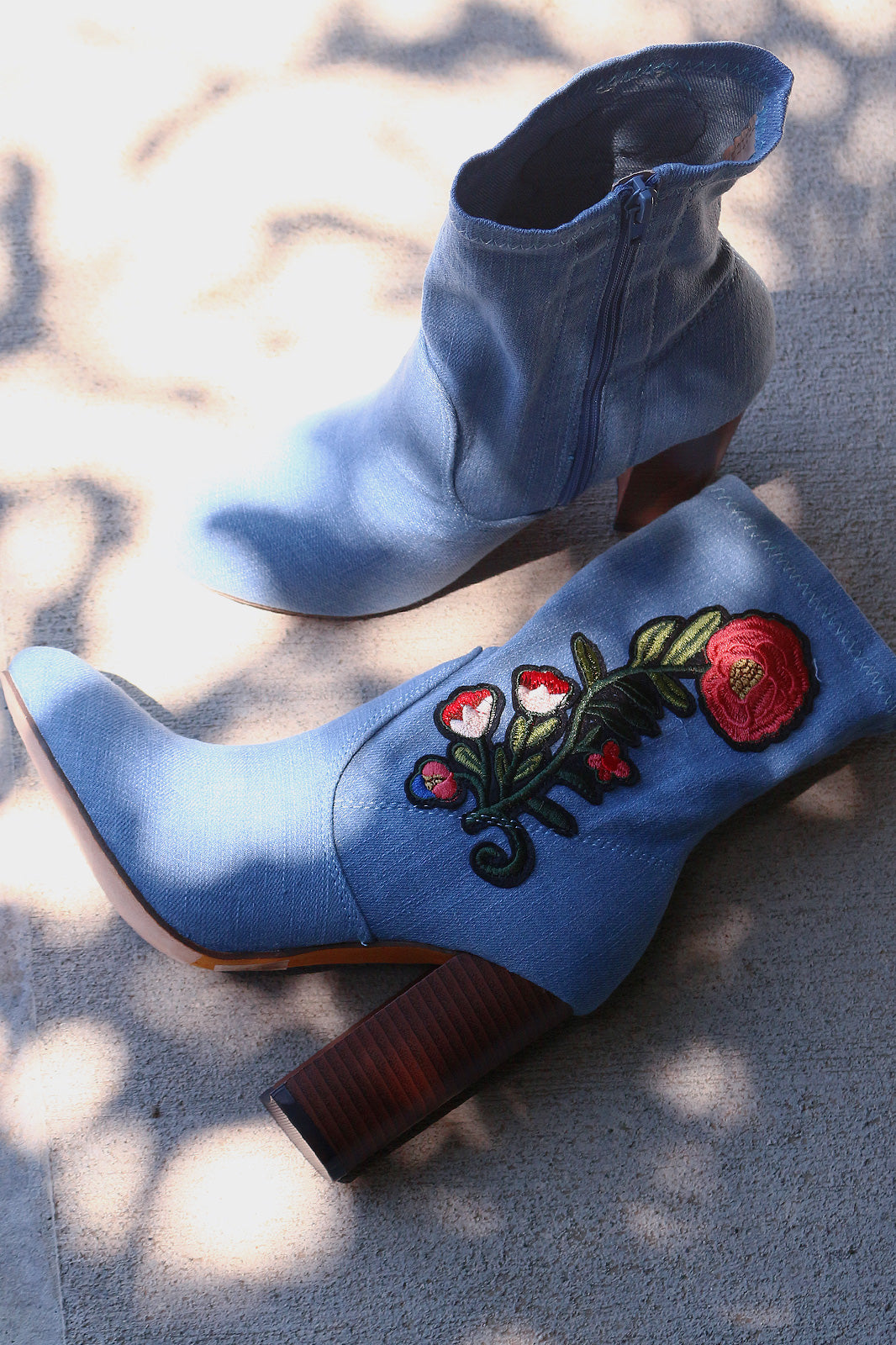 Embroidered Floral Denim Chunky Heeled Ankle Boots