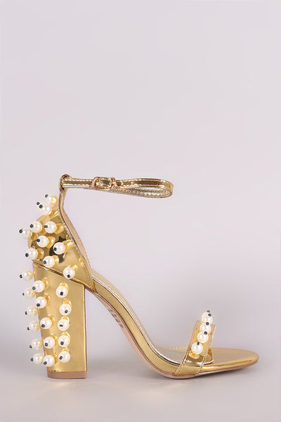 Metallic Chunky Heel For Women By LUD | Shop Women's Fashion Metallic Patent Pearl Embellished Open Toe Ankle Strap Chunky Heel