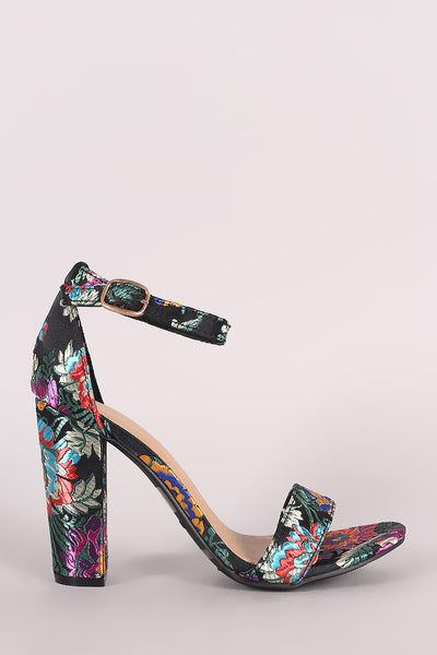 Chunky Heel For Women By Bamboo | Women Floral Brocade Satin Open Toe Ankle Strap Chunky Heel Beautiful Heel Satin Upper With Floral Brocade Design Throughout Open Toe Silhouette And Wrapped Chunky Heel For Women