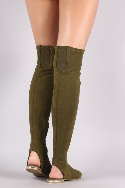 Bamboo Suede Over-The-Knee Sandal Boots