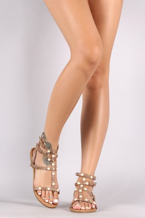Qupid Strappy Stud And Faux Pearl Accent Gladiator Flat Sandal