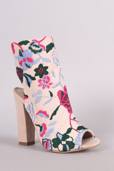 Chunky Heeled Booties For Women By LUD | Shop Women's Fashion Lovely Stylish Fashionable Shoe Republic LA Floral Embroidery Peep Toe Chunky Heeled Booties