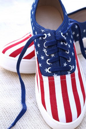 Fashion Sneaker Womens By LUD | American Flag Print Canvas Lace-Up Sneaker Womens Sneakers Excellent Sneakers For Women Cool Sneakers For Women