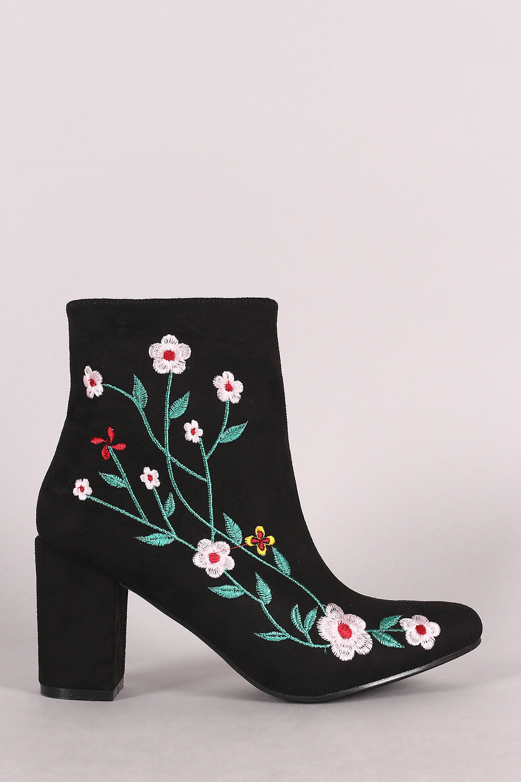Suede Embroidered Floral Vines Chunky Heeled Booties