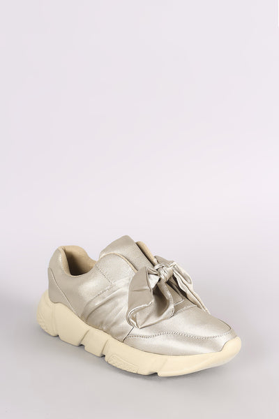 Satin Bow Accent Slip-On Sneaker
