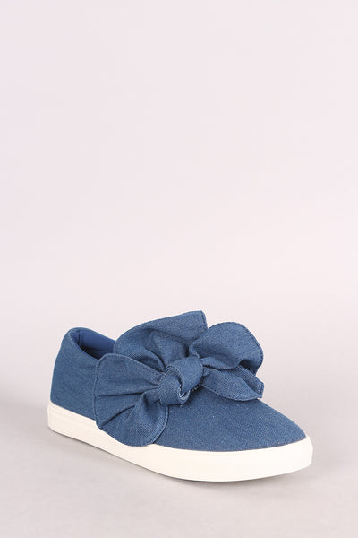 Denim Oversized Bow Accent Slip-On Sneaker