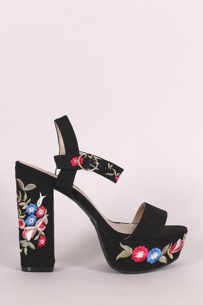 Chunky Platform Heel For Women By Qupid | Shop Women's Fashion Lovely Stylish Heel Open Toe Silhouette Single toe Band Embroidered Floral Chunky Platform Heel