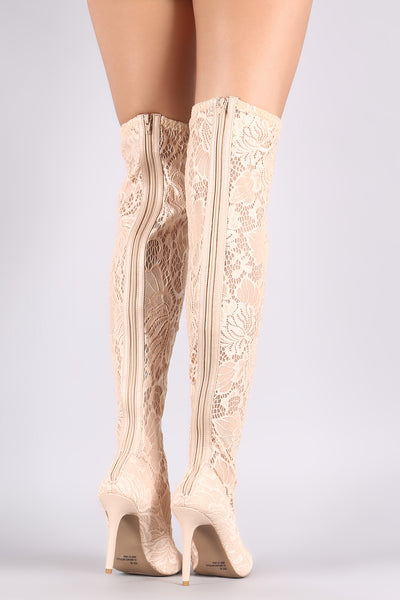 Floral Over-The-Knee Boots For Women By Qupid | Shop Women's Fashion Lovely Stylish Boots Semi-Sheer Floral Lace Upper A Slightly Stretchy Pointy Toe Silhouette And Wrapped Stiletto Heel Stiletto Fitted Over-The-Knee Boots