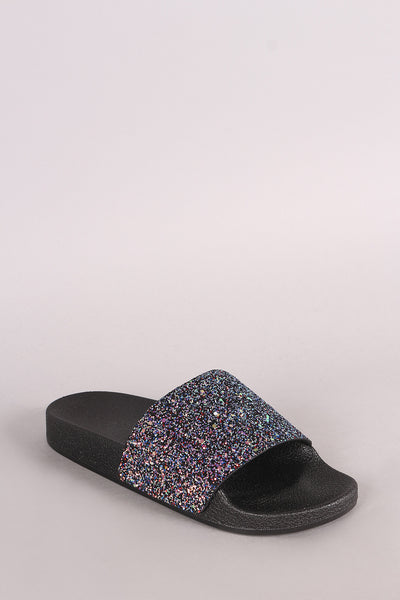 Qupid Encrusted Iridescent Glitter Open Toe Slide Sandal