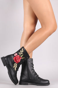 Combat Boots For Women By Wild Diva | Shop Women's Fashion Lovely Stylish Fashionable Gorgeous Lounge Embroidered Rosette Lace Up Combat Boots