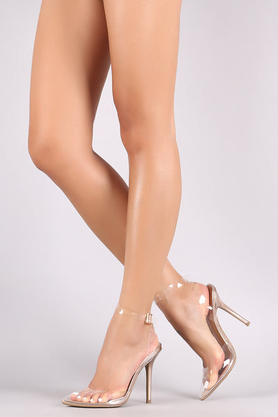 Wild Diva Lounge Clear Pointy Toe Slingback Stiletto Heel