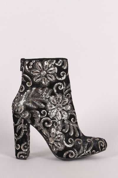 Chunky Heeled Booties For Women By Wild Diva Lounge | Shop Women's Fashion Floral/Filigree Embroidery Design  Filigree Embroidery Sequined Pointy Toe Silhouette Chunky Heeled Booties