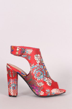 Floral Booties For Women By Bamboo | Women Chunky Heel Peep Toe Booties