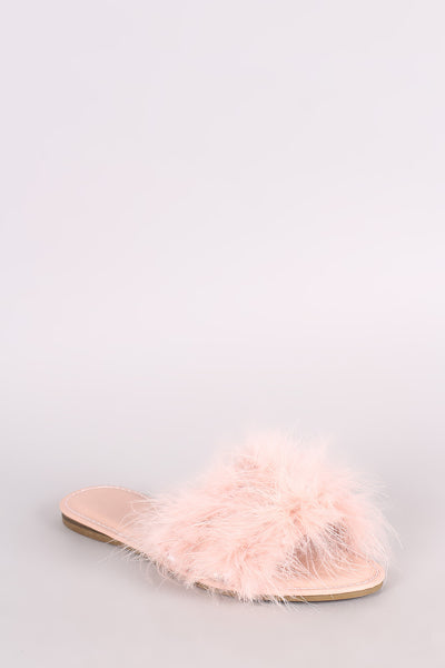 Bamboo Jewel Embellished Faux Feather Slide Sandal