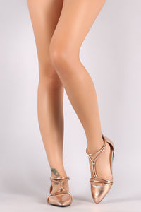 Qupid Metallic Strappy Gathered Pointy Toe Flat