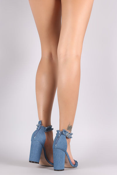 Frayed Denim Ankle Strap Chunky Heel