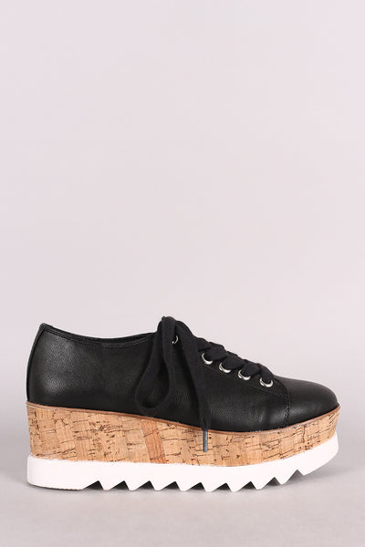 Bamboo Lug Sole Lace Up Oxford Platform Wedge