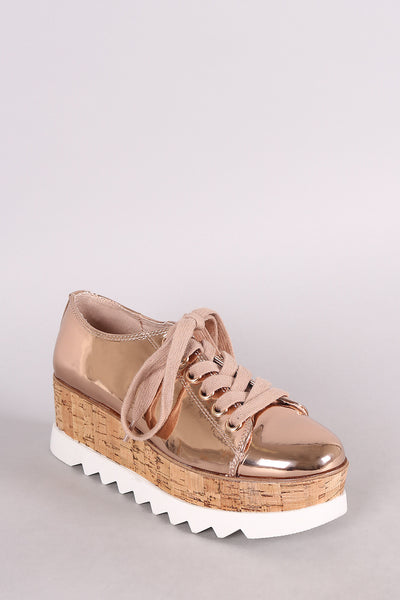 Bamboo Patent Lug Sole Lace Up Oxford Platform Wedge