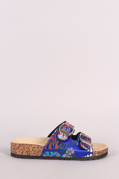 Bamboo Satin Floral Brocade Buckled Cork Slide Sandal