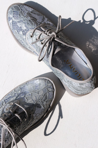 Liliana Semi-Sheer Paisley Lace-Covered Oxfords