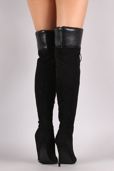 Lace-Up Over-The-Knee Boots For Women By Liliana | Shop Women's Fashion pointy toe silhouette wrapped stiletto heel Lace-Up Over side zippe Over-The-Knee Boots