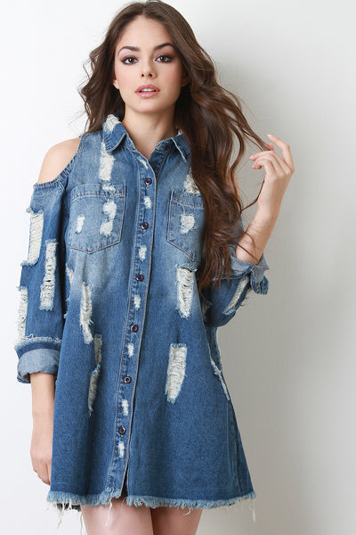 Denim Jeans Shirt For Women By Denim | Cold Shoulder Distressed Denim Jean Shirt Dress