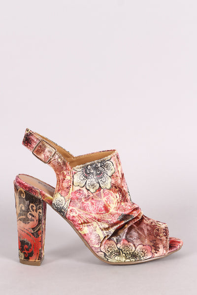 Slingback Chunky Mule Heel For Women By Bamboo | Women Fashion Floral Print Ruched Velvet Slingback Chunky wrapped Mule Heel For Women Lightly Padded Insole And Adjustable Slingback Strap With Buckle Fastening