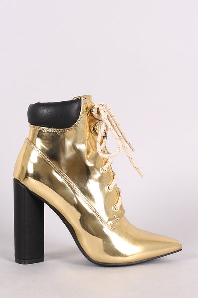 Qupid Metallic Chunky Heeled Combat Lace-Up Ankle Boots