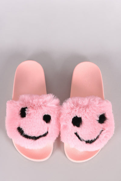 Open Toe Slide Sandal For Women By Qupid | Shop Women's Fashion Lovely Stylish Sandal Wide Faux Fur band Faux Fur Smiley Face Open Toe Comfy Molded Footbed Adorable Smiley Face Slide Sandal