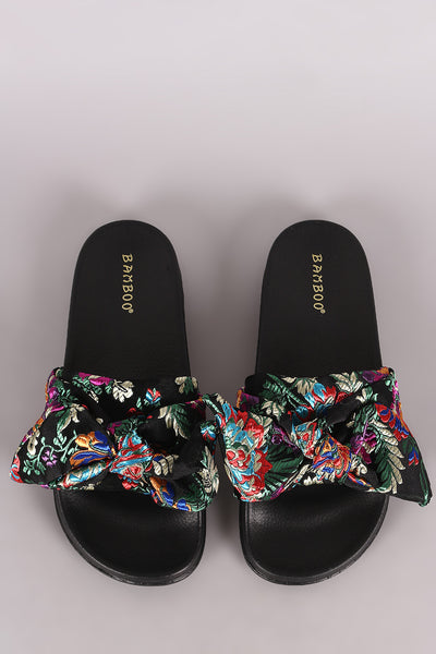 Brocade Bow Slide Sandal For Women By Bamboo | Shop Women's Fashion Comfortable Bow Decor Slip On Silky Slide Sandal Satin Embroidered Brocade Bow Slide Sandal