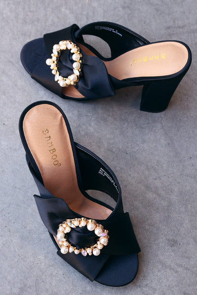 Bamboo Satin Faux Pearl Embellished Buckle Mule Heel