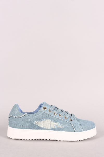 Bamboo Distressed Denim Lace Up Sneaker