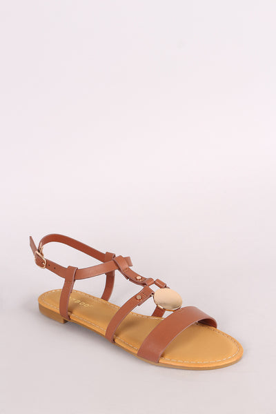 Bamboo Leather Strappy Caged Circular Plate Flat Sandal
