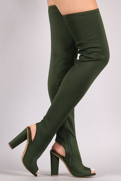 Bamboo Elastane Chunky Heeled Over-The-Knee Boots