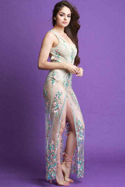 Sheer Mesh Floral Embroidery Maxi Dress