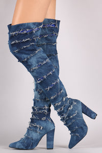 Distressed Denim Chunky Heeled For Women By LUD | Shop Women's Fashion Distressed Denim Chunky Heeled Over-The-Knee Boots Frayed Thigh High Boots OTK Fashion Boots