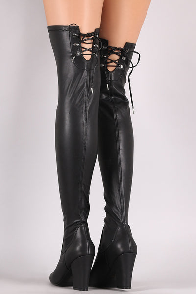 Qupid Stretch Chunky Heeled Over-The-Knee Boots