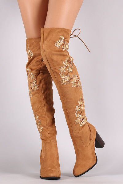 Chunky Heeled Boots For Women By Qupid | Shop Women's Fashion Lovely Stylish Boots Almond Toe Silhouette Embroidered Floral Suede Back Lace-Up Chunky Stacked Heeled Boots