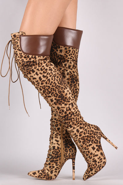 Stylish Leopard Over-The-Knee Boots For Women By Liliana | Shop Women's Fashion Leopard Pointy Toe Silhouette Lace-Up And Wrapped Stiletto Heel Over-The-Knee Boots