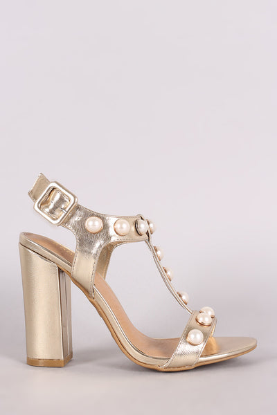 T-Strap Chunky Heel For Women By Bamboo | Shop Women Fashion Metallic Faux Pearl Open Toe T-Strap Chunky Block Heel Sandals For Women Adjustable Ankle Strap