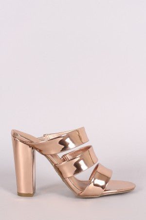 Metallic Scalloped Laser Cut Flat Sandal For Women By Bamboo | Shop Women Comfity Metallic Triple Straps Open Toe Chunky Mule Heel For Women,Rivets Slippers Rockstudded Block Heels Hollow Out Slingback Sandals