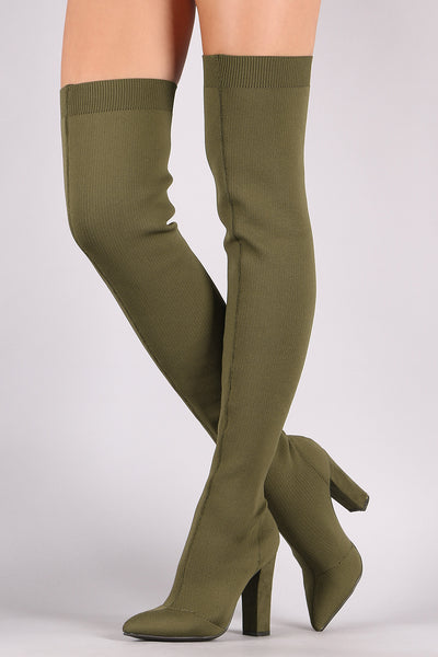 Knit Pointy Toe OTK For Women By Bamboo | FASHION Women's Knit Pointy Toe Chunky High Heeled Over-The-Knee Boots