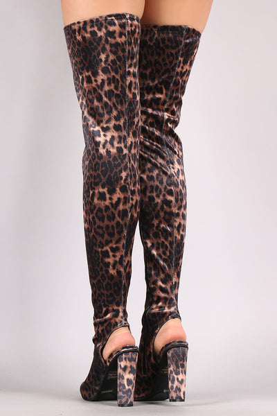 Chunky Heeled Over-The-Knee Boots For Women By Bamboo | Shop Pretty Girl Women's  Leopard Velvet Peep Toe Silhouette Slightly Stretchy Velvet Shaft Open Heel A Lightly Cushioned Insole Chunky Heeled Over-The-Knee Boots Fashionable Leopard Boots For Women